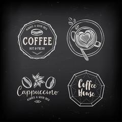 Coffee restaurant cafe badges, template design.