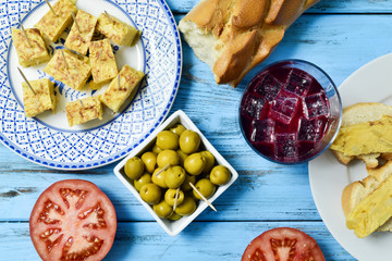 tinto de verano, olives, and spanish omelet