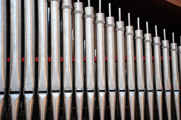 Church pipes organ interior view.