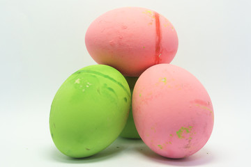 Brightly colored eggs for Easter. On a white background