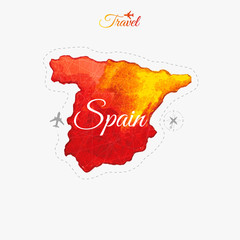 Travel around the  world. Spain. Watercolor map