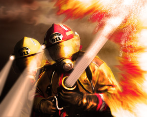 Digital painting of Firefighters fighting fire.