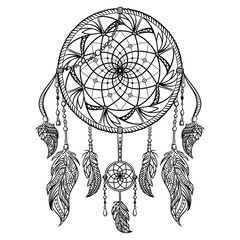 Dream catcher with ornament. Tattoo art. Retro banner, card, scrap booking, t-shirt, bag, print, poster.Highly detailed vintage black and white hand drawn vector illustration