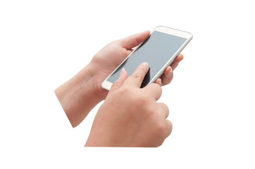 Hand with smartphone touch screen isolated