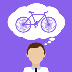 Man dream about bicycle. Flat vector illustration.