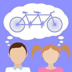 Couple dreams about tandem bicycle. Flat vector illustration.