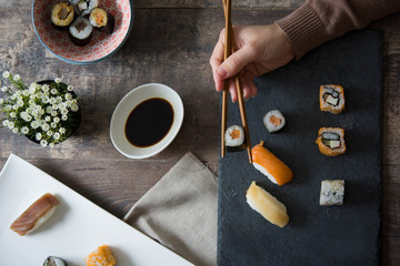 Sushi time at home.