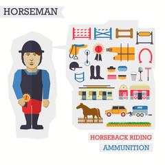 Set of elements for horseback riding with horseman.