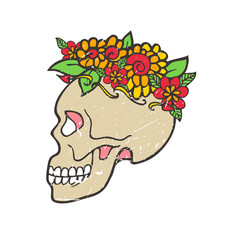 Day of dead skull with marigold.