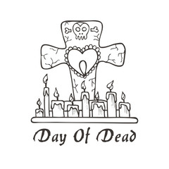 Day of dead.Grave candles with heart and skull.