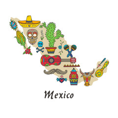 Set of Mexican traditional and cultural elements in map.