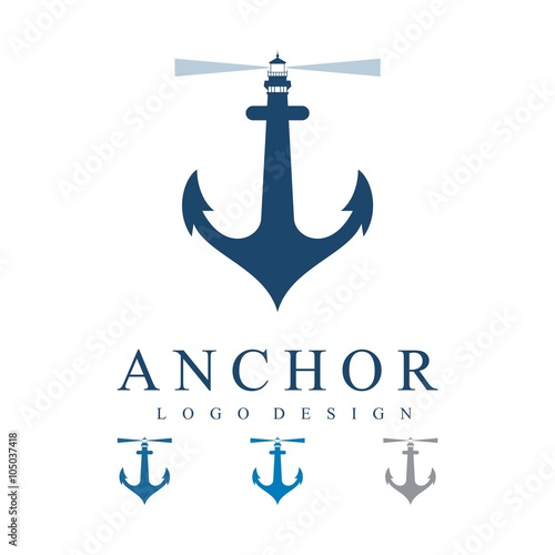 quotlighthouse on the anchor logo designquot stock image and