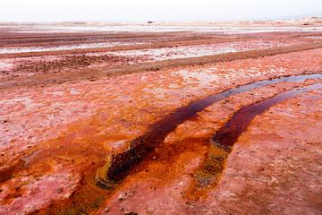 Red salt evaporation ponds in Cape Verde, Africa