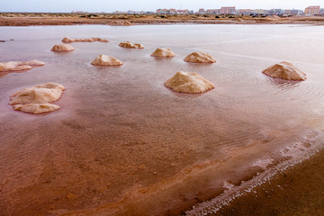 Red salt evaporation ponds and mounds, Sal Cape Verde