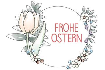 Frohe Ostern - Handgezeichnete Blumendekoration