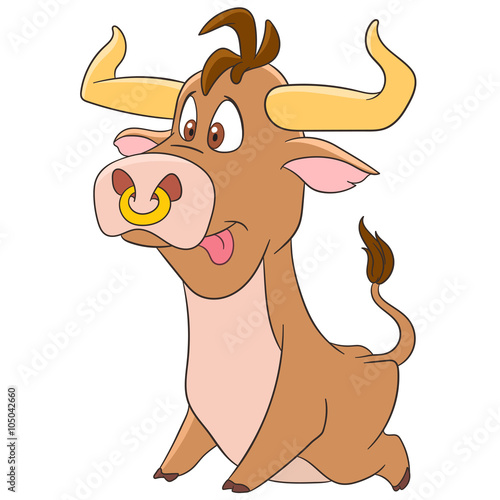 Cute And Funny Cartoon Bull Ox Buffalo Calf One Of The Animal