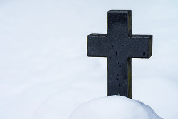 Tombstone in winter