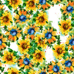 Seamless floral pattern. sunflowers. Watercolor
