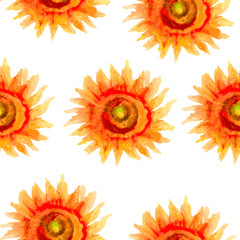 Sunflowers watercolor illustration, vector seamless pattern. Floral design. Perfect for wallpaper, tea, cosmetics and package design.