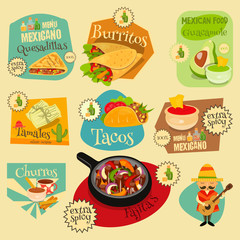 Mexican Food Labels Set