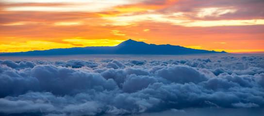 Keuken foto achterwand Hemel Beautiful cloudscape with Tenerife island on background on the sunrise in Spain