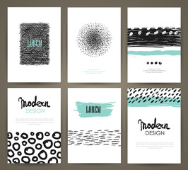 Set of brochures with hand drawn design elements. Vector templates. Trendy patterns and textures.