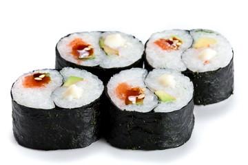 Printed kitchen splashbacks Sushi bar Delicious japanese sushi rolls with shrimp and shrimp isolated on white. Futomaki rolls. In yang symbol