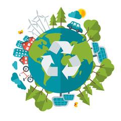 Eco Friendly, green energy concept, vector illustration