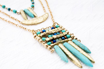 Jewelry of the Goddesses: Bohemian Style Turquoise & Yellow Gold Handmade Beaded Necklace