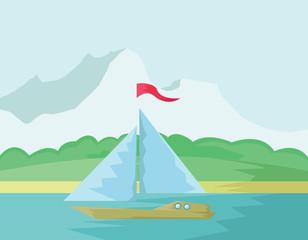 Yacht Summer Tourism. Seaside View illustration. Sea Paradise. Summer Holidays on Sand Beach. Digital background vector illustration.