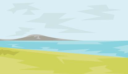 Mountain and Seaside View illustration. Sea Paradise. Summer Holidays on Sand Beach. Digital background vector illustration.