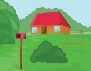 House with Red Roof and Mailbox in the Woods. Countryside view. Meadow with Trees and Bushes. Digital background vector illustration.