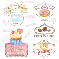 Bakery,cafe logos.Watercolor sweet cakes ,caffee