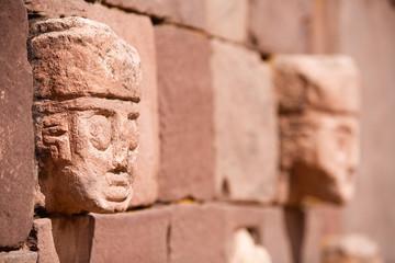 Heads on Templete Semi Subterraneo on Tiwanaku, Bolivia