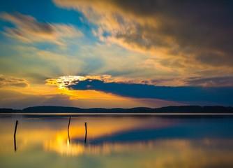 Spoed Fotobehang Pier Long exposure lake landscape