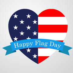 Icono plano Happy Flag Day en corazon bandera USA #1