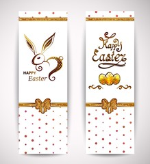 Happy Easter greeting cards with gold rabbit icon and eggs