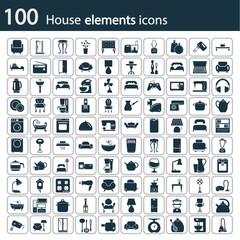 Det of one hundred house icons