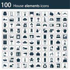 Det of one hundred house icons