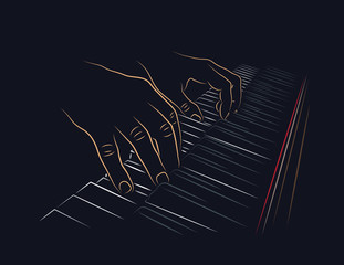 Playing piano. Hands on piano keyboard.