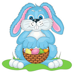 Vector illustration Easter bunny with bast basket