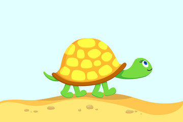 Vector  illustration of turtle,  going for a walk  on a beach