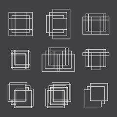 Set of 9 geometric shapes squares and lines for your design. Tre