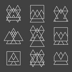 Set of 9 geometric shapes triangles, squares and lines for your