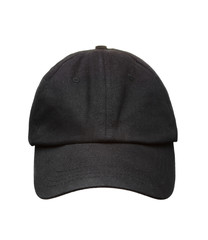 Black working peaked cap. Front  view. Isolated on a white backg
