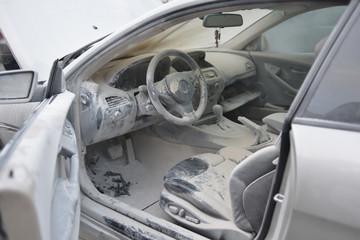 Sheet of dust inside the car