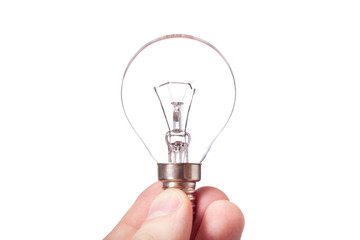 light bulb in hand isolated on white background