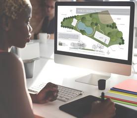 Public Park Layout Map Information Concept