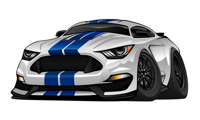 American Muscle Car cartoon vector illustration. White with blue racing stripes, aggressive stance, big tires and rims. Very sharp, clean lines, a crisp illustration.