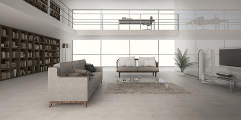 3d rendering loft style double floor living room